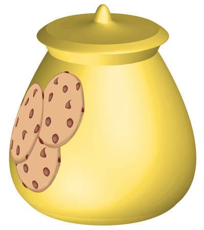 cookie jar with chocolate chip cookie logo- vector