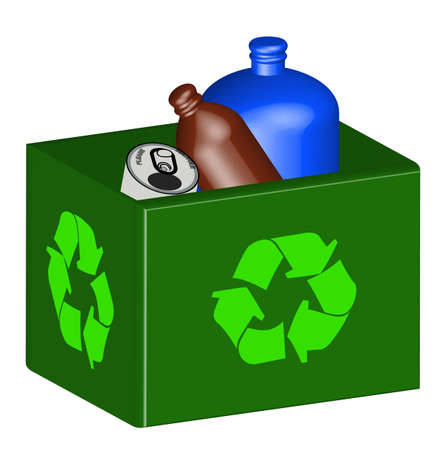 recycle bin with plastic and tin in it - vector