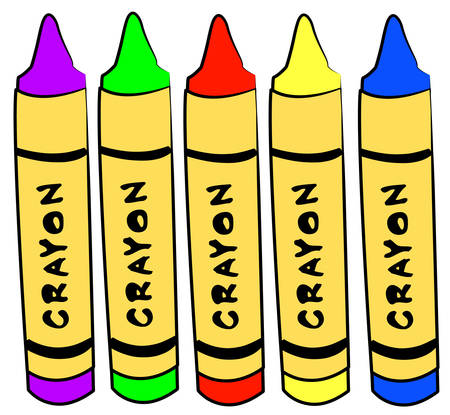 five different color crayons standing - vector Ilustracja