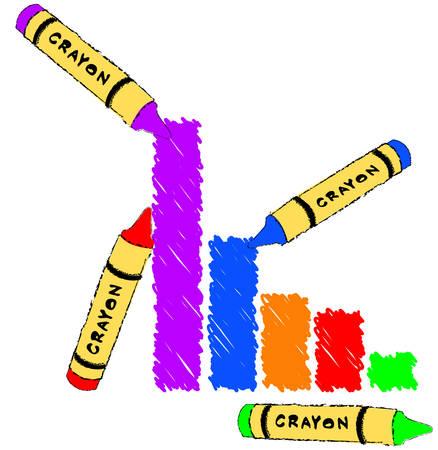다른 색으로 만든 막대 그래프 크레용 - 벡터 일러스트