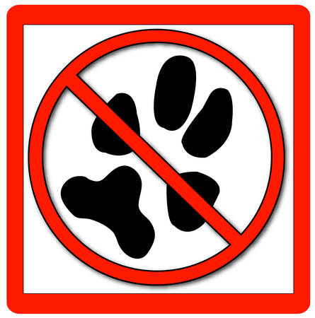 no pets allowed signage with red border - vector Иллюстрация