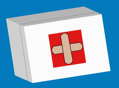 first aid box with crossed logo on the front - vector