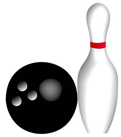 ten pin bowling ball and pin - vector