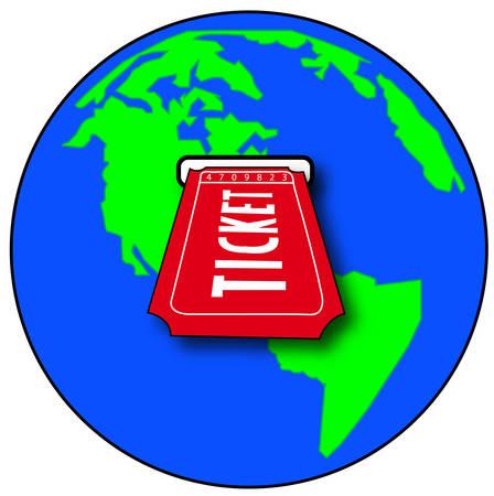 world globe with ticket sliding into slot - vector