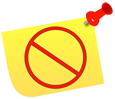 no or warning symbol on thumb tacked note - vector