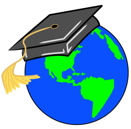 globe with graduate cap or hat on - vector