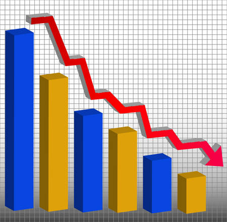 Graph showing decrease in profits or earnings in 3D - vector Ilustrace