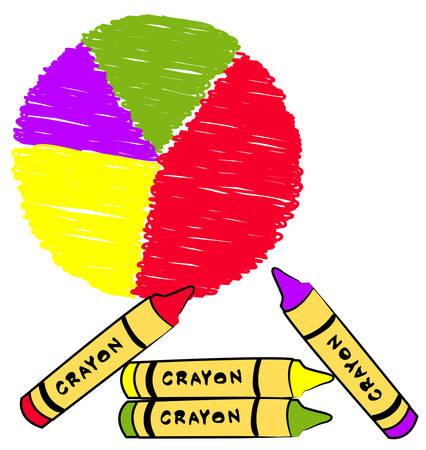cirkel grafiek gekleurd met kleurpotloden - vector Stock Illustratie