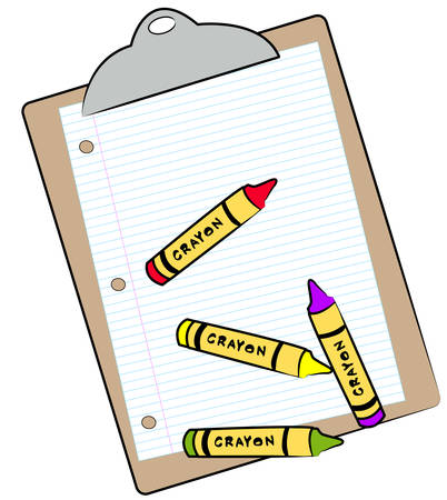 clipboard with lined paper and wax crayons - vector