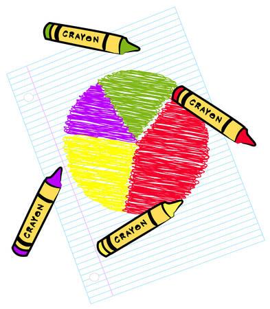 줄 지어 종이에 크레용 - 색깔 된 원 그래프 일러스트