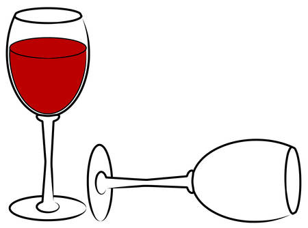 two wine glasses - one full and one empty - vector
