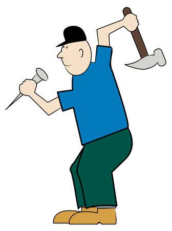 ハゲの男性大工のハンマーと爪 - ベクトル  イラスト・ベクター素材