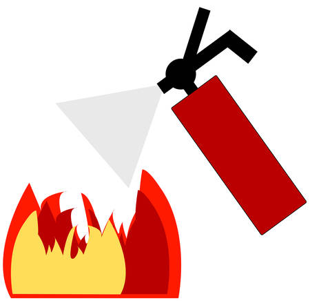 red fire extinguisher blowing out flame - vector
