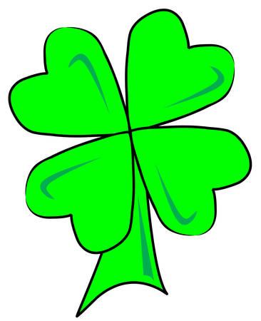green four leaf clover or shamrock- vector Illustration