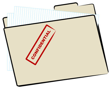 brown manila file folder stamped with confidential - vector Stock Illustratie