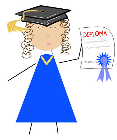 school graduate with diploma and cap - vector Vectores