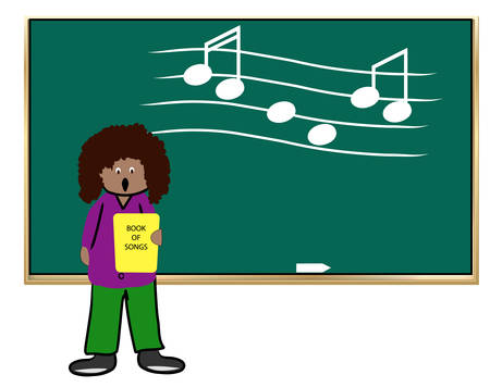 ethnic woman teaching music class - vector illustration 일러스트