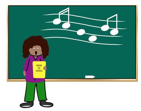 etnische vrouw onderwijzen muziek klasse - vector illustratie