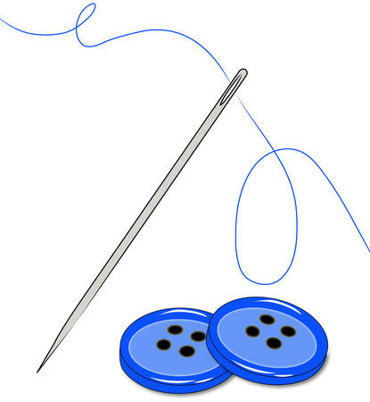 sewing thread and needle with buttons - vector Banco de Imagens - 2603229