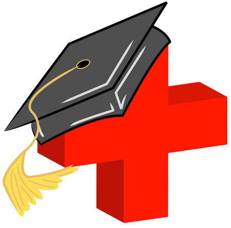 graduate hat or cap on medical symbol - vector