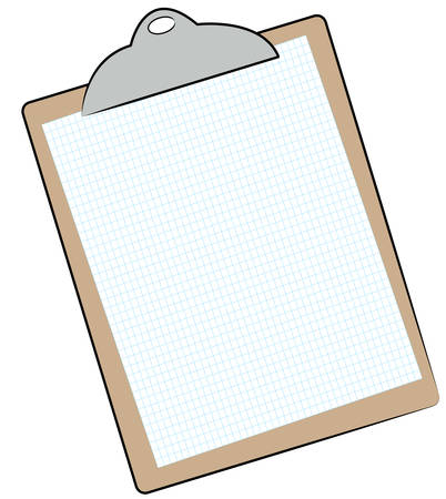 clipboard with graph paper attached - vector Ilustrace