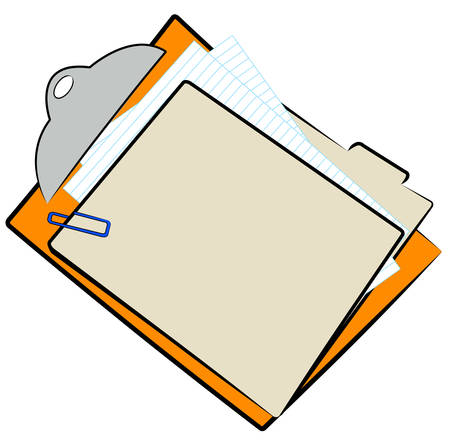 clipboard with full file folder and paper clip - vector Illustration
