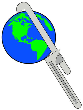 earth being squeezed with a pipe wrench - vector
