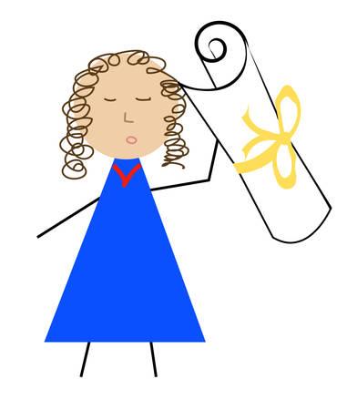 person holding on to award or diploma - vector Illusztráció