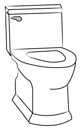 white toilet with the seat left open - vector