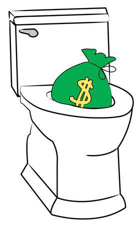 concept of flushing money down the toilet - vector
