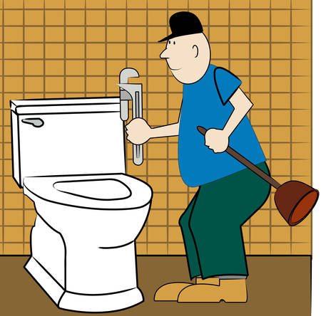 handyman or plumber fixing broken toilet - vector