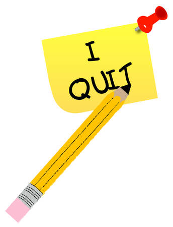 thumb tacked note with message - I quit - vector Stock Vector - 2624673