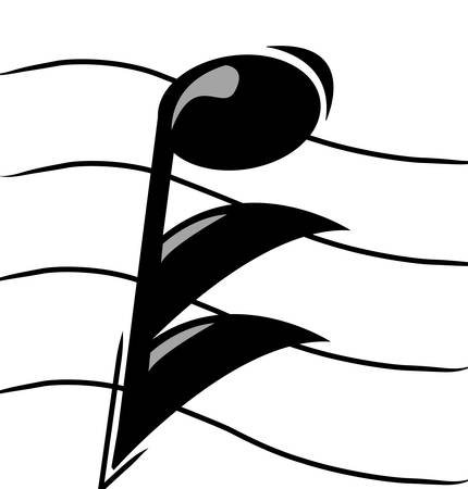 musical note on staff - vector image