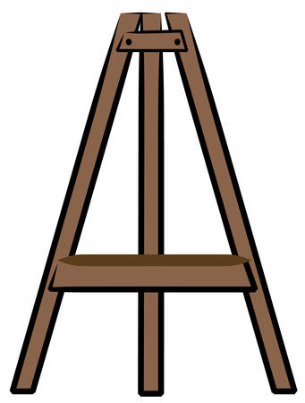 brown wooden craft or art easel - vector