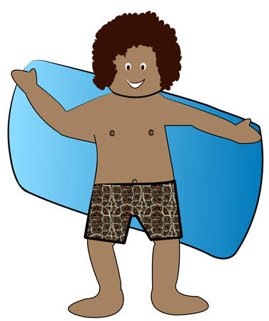 ethnic boy in bathing suit drying off with towel - vector