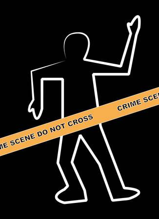 dead body outline with crime scene do not cross banner - vector