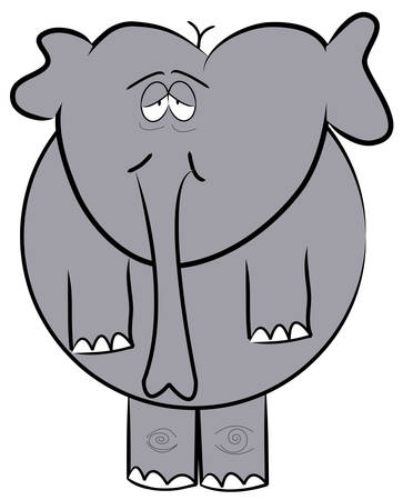 droopy eyed elephant standing up - cartoon - vector 向量圖像