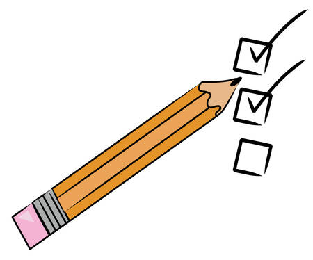orange pencil checking off tasks on to do list - vector