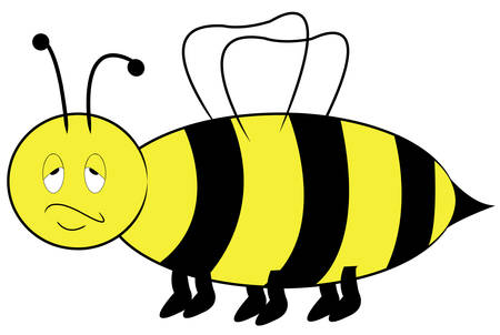 yellow and black bee with annoyed bored expression - vector