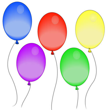 five colorful balloons floating in the air - vector Illusztráció