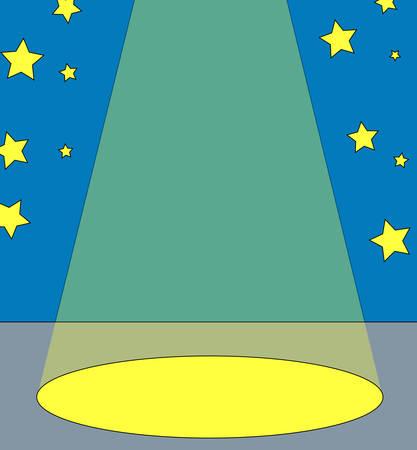スポット光は、バック グラウンドで星とセンター ステージ上の-ベクトル