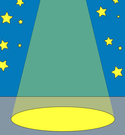 spot light on center stage with stars in the background - vector