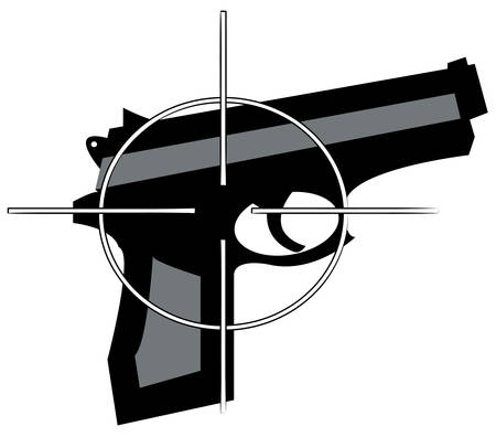 hand gun with cross hair target on top - vector