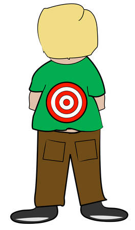 young boy with target on his back - bullying - vector
