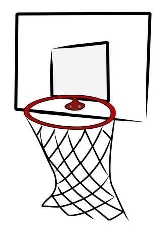 バスケット ボール ネットとバック ボード - ベクトル イラスト
