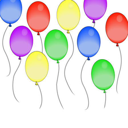 colorful balloons floating by in the air - vector