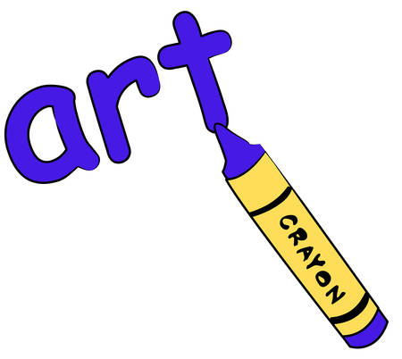 blue crayon writing the word art - education concept - vector