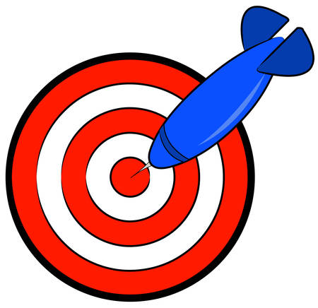 red and white bullseye with blue dart hitting target - vector Vectores