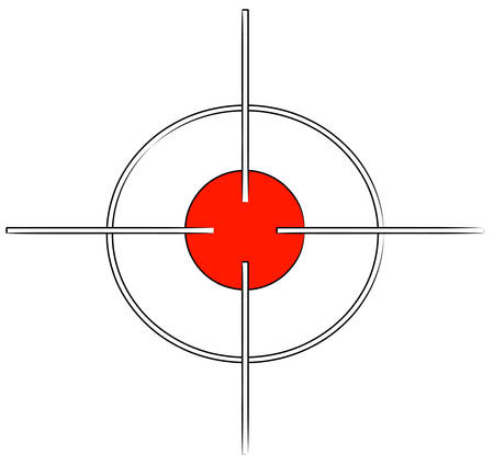 gun target or cross hairs with red mark - vector Ilustração