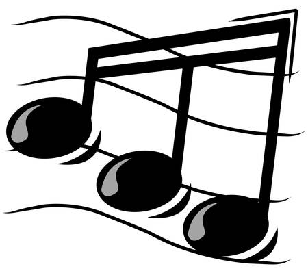 musical note on staff - vector illustration
